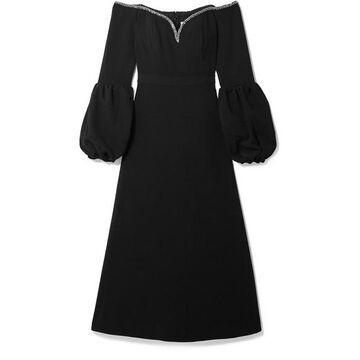 Self-Portrait - Off-the-shoulder Embellished Crepe Midi Dress - Black