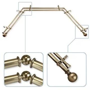 """InStyleDesign Tegan 13/16"""" Bay Window Double Curtain Rod - 20-36 inches, 38-72 inches"""