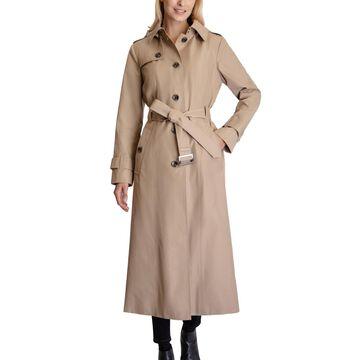 London Fog Hooded Maxi Trench Coat