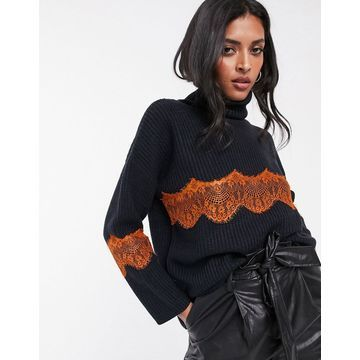 Lost Ink high neck sweater with lace inserts-Navy