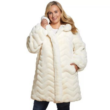 Plus Size Gallery Hooded Faux Fur Jacket