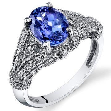 Oravo 14k White Gold Oval Shape Tanzanite Diamond Ring 2.47 carat Size - 6