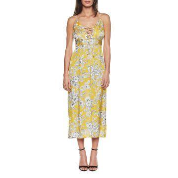Karina Lace-Up Floral Midi Dress