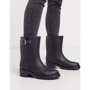 London Rebel biker welly boots-Black