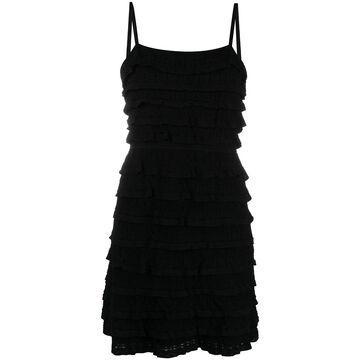 knitted ruffle mini dress