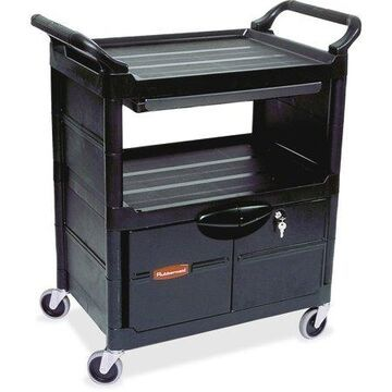 Rubbermaid Commercial Lockable Storage Utility Cart, Black