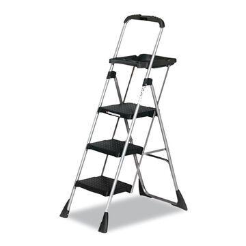 Cosco Max Work Steel Platform Ladder, 22w x 31d x 55h, 3-Step, Black