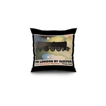 To London by Sleeper Vintage Poster (artist: Alexeieff, Alexander) England c. 1932 (16x16 Spun Polyester Pillow, Black Border)