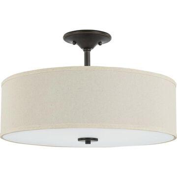 Progress Lighting Inspire 11.5-in Antique Bronze Incandescent Semi-flush Mount Light   P350168-020