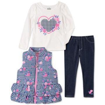 Kids Headquarters Baby Girls 3-Pc. Printed Peplum Puffer Vest, Graphic-Print T-Shirt & Jeggings Set