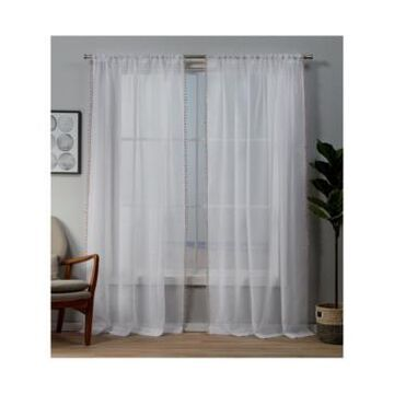 """Exclusive Home Pom Pom Embellished Sheer Rod Pocket Top Curtain Panel Pair, 54"""" x 96"""""""