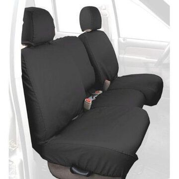 Covercraft Custom-Fit Rear-Second Seat Bench SeatSaver Seat Covers - Polycotton Fabric, Charcoal Black
