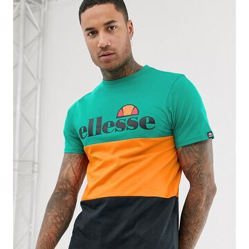 ellesse Larancia color block t-shirt in green exclusive at ASOS