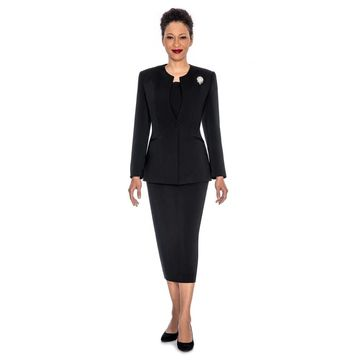 Giovanna Signature Women's 3-piece Washable Skirt Suit with Detachable Brooch