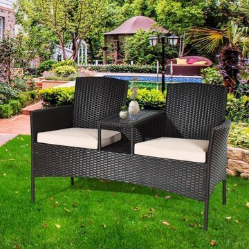 Goplus Patio Rattan Chat Set Loveseat Sofa Table Chairs Conversation Cushioned Polyester