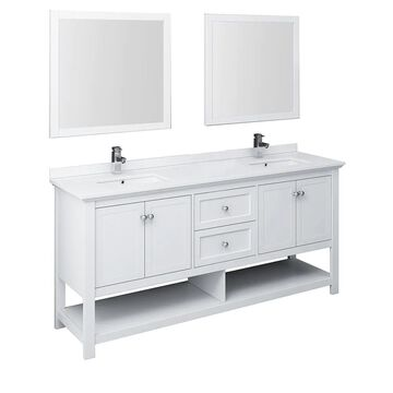 Fresca Cambria 72-in White Undermount Double Sink Bathroom Vanity with White Quartz Top (Mirror and Faucet Included) | FVN2372WH-D