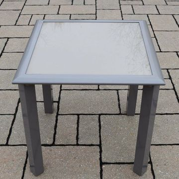 Oakland Living 18 in. Tempered Glass Aluminum Side Table