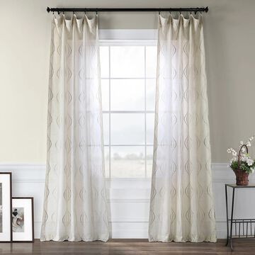 Exclusive Fabrics Suez Embroidered Faux Linen Sheer Curtain (1 Panel)