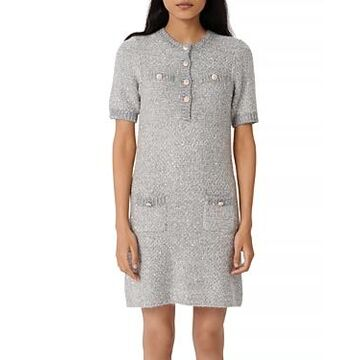 Maje Raveno Knit Sequined Shirt Dress