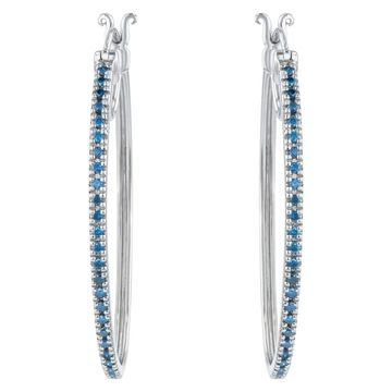 Beverly Hills Charm Sterling Silver 1/2CT. Blue Diamond Hoop Earring