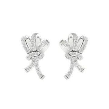 IGI Certified 1/5ct TDW Diamond Knot Stud Earrings in 10k Gold by De Couer (White)