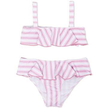 Douuod Light Pink And White Bikini Set