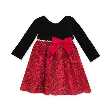 Baby Girls Velvet-Bodice Embroidered Dress