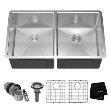 Kraus 33 Inch Rectangular Undermount 50/50 Double Stainless Steel Kitchen Sink