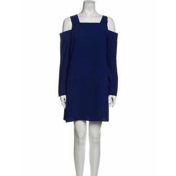 Square Neckline Mini Dress Blue