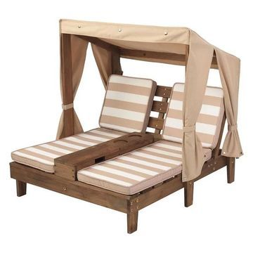 KidKraft Double Chaise Lounge With Cup Holders, Espresso and Oatmeal