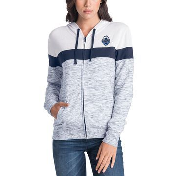 5th & Ocean by New Era Vancouver Whitecaps FC Women's Navy/White Space Dye French Terry Full-Zip Hoodie