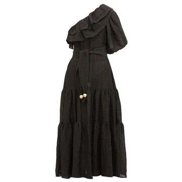 Lisa Marie Fernandez - Arden One-shoulder Ruffled Linen-blend Dress - Womens - Black