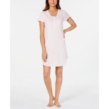 Miss Elaine Knit Lace-Trim Striped Nightgown