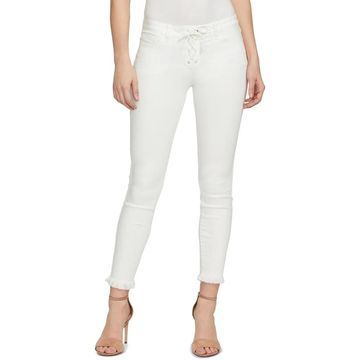 William Rast Womens Skinny Crop Jeans Sculpting Lace-Up