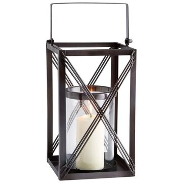 Cyan Design 10180 Large Ashbrook Glass and Iron Hanging Pillar Lantern Candle Holder Dark Copper Home Decor Accents Candle Holders