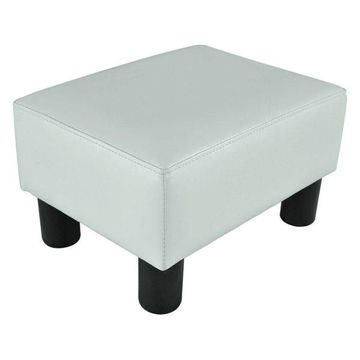 HomCom Modern Small Faux Leather Ottoman Footrest Stool, White