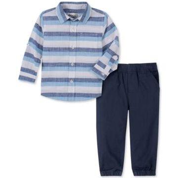Kids Headquarters Baby Boys 2-Pc. Yarn-Dyed Stripe Shirt & Navy Blue Twill Pants Set