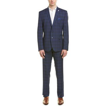Nick Graham Mens Stretch Modern Fit Suit With Flat Front Pant