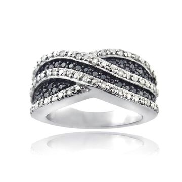 DB Designs Sterling Silver 1/2ct Black and White Diamond Crossover Wave Band Ring