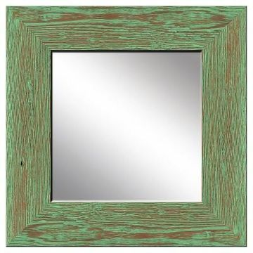 Square Natural Recovered Wood Decorative Wall Mirror Mint - PTM Images