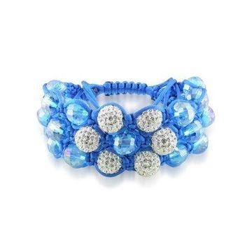 Miabella Turquoise Beads and White Cubic Zirconia Macrame Bracelet
