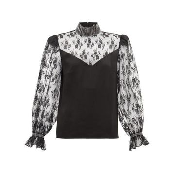 Christopher Kane - Crystal-embellished Lace And Satin Blouse - Womens - Black
