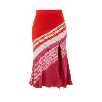 Altuzarra - Sachiko Front-slit Shibori-dyed Silk Midi Skirt - Womens - Burgundy Print