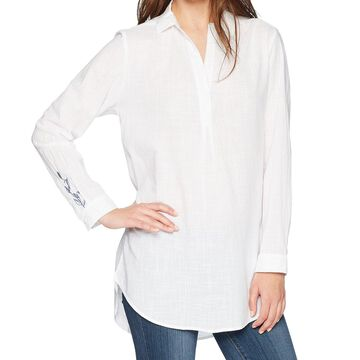 Jag White Womens Size XL Embroidered Split Neck Longsleeve Tunic