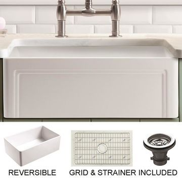 Empire Industries Olde London Farmhouse Apron Front 33-in x 18-in White Single Bowl Kitchen Sink Stainless Steel