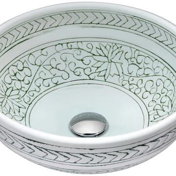 ANZZI Satui White Tempered Glass Vessel Round Bathroom Sink (Drain Included) (16.1-in x 16.1-in) | LS-AZ8204
