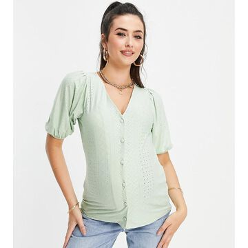 Mamalicious Maternity recycled nursing puff sleeve eyelet blouse in green