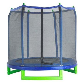 Upper Bounce 7-Foot Trampoline, with Safety Enclosure, Blue/Green