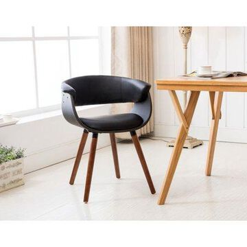 Porthos Homes Mid-century Style Dining Chair With Full PVC Upholstery, Wooden Legs And Arm Rests (Various Colors)