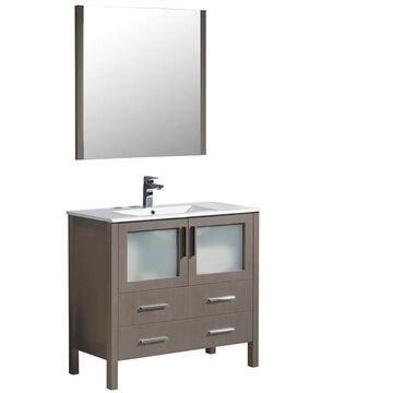 Fresca Bari 36-in Gray Oak Single Sink Bathroom Vanity with White Ceramic Top (Mirror and Faucet Included) | FVN6236GO-UNS